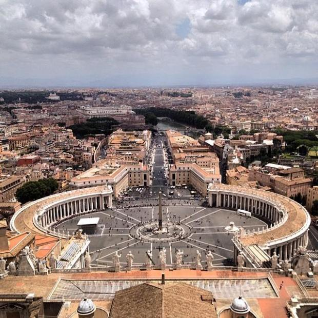 E depois de 551 degraus. Vista de Roma a partir da cúpula da Basílica.