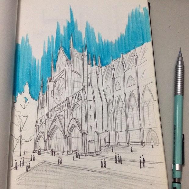 Croqui da lateral da Basílica Westminster, inacabado por conta da chuva.
